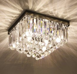 modern lantern lamp NZ - Luxury Crystal Ceiling Light Led Square Entrance Light Fitting Room Clothing Light Bedroom Simple Lamps And Lanterns Llfa