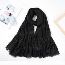 Wholesale black fringe scarf for sale - Group buy Designer Women Long Glitter Shimmer Muslim Viscose Head Wrap Hijab Scarf Female White Black Solid Color Tassel Fringe Scarves Shaw