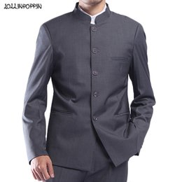 Wholesale traditional chinese men s suits for sale - Group buy Men Gray Tunic Suit Jacket Mandarin Stand Collar Single Breasted Traditional Chinese Style Grey Coat Male Outerwear LJ201006