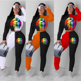 Wholesale tracksuit for plus women resale online – Plus Size Rainbow Lips Print Tracksuit for Women Ladies Sweatshirt Pullover Hoodie Crop Top Pants Two Piece Outfits Sports Suit E101503