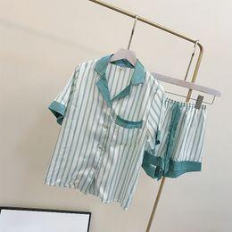 Wholesale ladies linen wear online – Summer new lovely silk striped ladies pajamas short sleeve Shorts Set Home wear