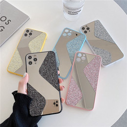 espelho de corpo inteiro venda por atacado-Glitter Splicing Mirror Case Telefone para iPhone Mini Pro Max XR XS Max Mais X Soft Acrylic Body Back Cover