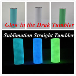 Wholesale DIY Sublimation Tumbler Glow in The Dark Tumbler 20oz STRAIGHT Skinny Tumbler with Luminous paint luminous Cup free shipping