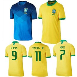 Wholesale america s cup online – design 2020 Brazil home yellow away Blue America Cup COUTINHO Mens soccer jersey JESUS FIRMINO MARCELO Uniforme de futebol football shirt