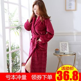 Wholesale mens long robes for sale - Group buy Thickened Flannel Bathrobe Womens Large Size Long Robe Morning Gowns Nightdress Coral Velvet Pajamas Mens Autumn and Winter Bathrobe