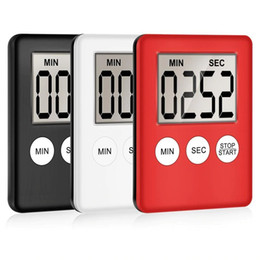 LCD Digital Screen Kitchen Timer Thin Square Cooking Count Up Countdown Timer Clock Kitchen Tools HHA1637 on Sale