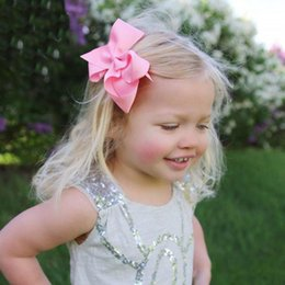 Wholesale 6 Inch Baby Girl Children hair bow boutique Grosgrain ribbon clip hairbow Large Bowknot Pinwheel Hairpins Hair Accessories decoration Q