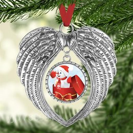 Wholesale heart images for sale – custom christmas ornament decorations angel wings shape blank Add your own image and background NEW FWE2424