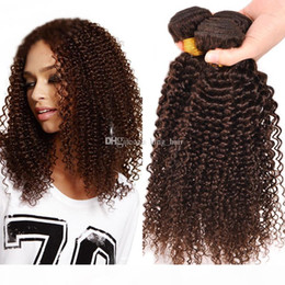 Discount curly weave for black women Hot Selling Mongolian 9A Dark Brown Human Hair Extensions Kinky Curly Hair Bundles Kinky Curly Hair Weaves For Black Wom