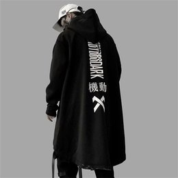 swag hoodies 2021 - Autumn Men Harajuku Hip Hop Coats Male Oversize Long Hoodie Cotton Fashion Swag Coat And Jacket US Size Y201026