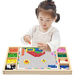 spelling puzzle Australia - Baby Wooden Puzzle Kids Educational Toys for Children Mushroom Nail Combination Spell Board Toy Multi-functional Wisdom Platter Q1222
