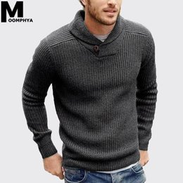 Wholesale cowl necked sweater resale online - Moomphya Cowl neck knitted men sweater pullover men long sleeve winter sweater men sueter hombre stylish slim male pull homme