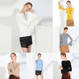 Wholesale women's thick sweaters resale online - 5zEbB Beaded beaded sleeve women s top one line collar autumn Pullover Korean sweater and winter trumpet bottoming sweater pullover Thick sty