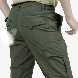 Summer Casual Army Uomo Pantaloni tattici leggeri Pantaloni traspiranti Pantaloni lunghi maschili Impermeabile Pantaloni da carico a secco in Offerta