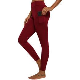 Wholesale pocket leggings resale online - Phone Pockets Leggings Sport Women Fitness Gym Yoga Pants High Waist Slim Plain Solid Topstitching Elastic Mujer Workout Leggins