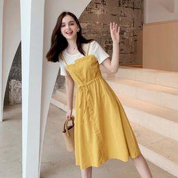 Wholesale french style dresses fashion resale online – 2020 new Dress dresslong dress summer yellow Zhixun skirt French style waist closing Korean loose mid long skirt fake two dresses fashion l