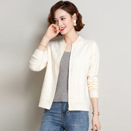 Wholesale old computers online – design vg5Qt wear and autumn new Women s autumn Spring Baseball Baseball jacketjacket jacket year old knitted cardigan loose short sweater trend