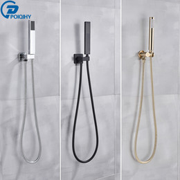 shower head wall holder Australia - POIQIHY Golden Handshower Head 150cm stainless steel Shower Hose Plastic Bracket Shower Faucet Head Wall Mounted Faucet Accessor 201105