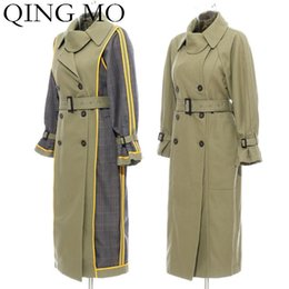 Wholesale trench coat brown for sale - Group buy QING MO Winter Women Trench Coat Women Plaid Patchwork Windbreake Coat Double Breasted Wide Waisted ZQY1996