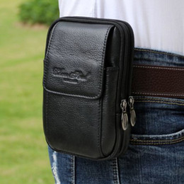 first cell phones NZ - Leather Case Bum Loop Cell Men Pack Male Mobile Belt Waist Bag Hip Cowhide First Layer Wallet Fanny Genuine Phone New Ncevr