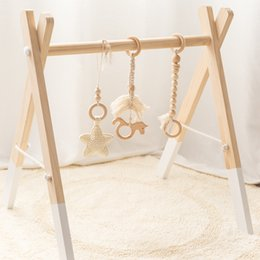 Let's go Wood Hook Star Bell Unicorn Furniture Children's Diseases Play Gym Baby Gift Toys For Newborn One Set on Sale
