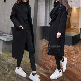 Wholesale woollen cloth resale online - Winter Coat For Women Wide Lapel Belt Pocket Woollen Cloth Polyester Wool Blend Coat Oversize Long Trench Coats Outwear Y200930