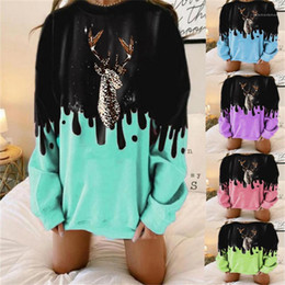 Discount sweatshirt deer print head Printed Contrast Color Sweatshirts Plus Size Womens Clothes Dropshipping Christmas Style Ladies Designer Cotton Hoodies Pullover Deer