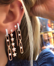 chain link hoop earrings Australia - Wholesale Rose Gold Color Punk Rock Crystal Cubic Zirconia Paved Latest Design Fashion Long Link Chain Hoop Earring For Women