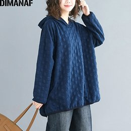 polka dot hoodies sweatshirts Australia - DIMANAF Plus Size Women Hoodies Sweatshirts Autumn Winter Female Pullover Tops Cotton Thick Loose Polka Dot Hooded Basic Clothes Y200610