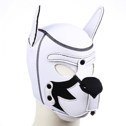 Discount adult dog sex mask Color mixing Puppy Play Dog Hood Mask Bdsm Bondage Restraint Strap Adult Games Slave Pup Role Play Sex Toys For Couple