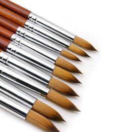 2 stks / 3 stks Set Acryl Nail Art Brush UV Gel Poolse Carving Pen 2021 Nagels Tekening Houten Handvat Haarborstels Sets