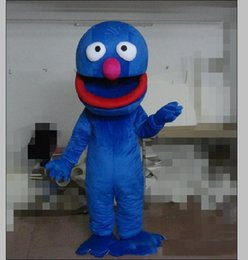 Wholesale sesame street mascot costumes for sale – halloween 2018 Sesame Street Blue Cookie Mascot Costumes Animated theme Monste Cospaly Cartoon mascot Character Halloween Purim party Carnival Costume