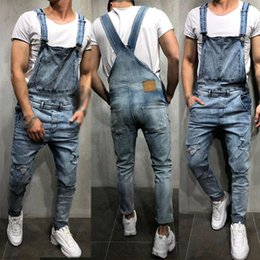 Wholesale mens suspender jumpsuit for sale – dress Mens Fashion Ripped Jeans Jumpsuits Hi Street Distressed Denim Bib Overalls For Male Suspender Pants Size S XXL
