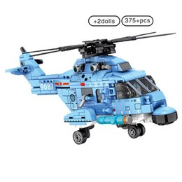 Discount toy military airplanes Sembo 375pcs Z-18 Helicopters Fighter Building Block Military Army City Plane Airplane Bricks Construction Children Toys