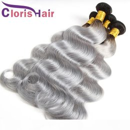 human hair two tone gray NZ - Highlight 1B Grey Peruvian Virgin Body Wave Ombre Hair Bundles Two Tone Gray Colored Human Hair Extensions Wavy Ombre Weaves