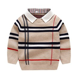 2-8T Toddler Kid Boy Clothes Autumn Winter Warm pullover Top Long Sleeve Plain Sweater Fashion Knitted gentleman Outfit C1108 on Sale