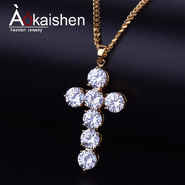 copper jewelry wholesale Australia - Iced Out Zircon Cross Pendant Gold Color Copper Material CZ CROSS Pendants Necklace Chain Fashion Hip Hop Jewelry