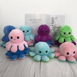 Plush Toy Reversible Flip octopus Plush Stuffed Toy Soft Animal Home Accessories Cute Animal Doll Children Gifts Baby Companion Plush Toy on Sale