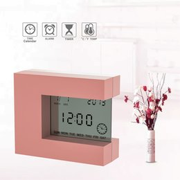 desk calendar thermometers UK - Electronic Desk Alarm clock Calendar with Count Down Timer and Thermometer for home office watch Battery Clock LJ201204