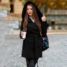 long black hooded trench coat 2021 - Women 's Fashion Winter Hooded Trench Coat Solid Color Casual with Pocket 2021 Warm windproof Overcoat Cappotto da