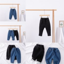 boys jeans sizes UK - nWFKB New spring autumn Keep warm children's retail boys casual jeans children trousers baby size clothing pant Add velvets years star