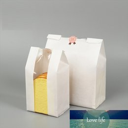 bags square bottom NZ - MAYZIN Bakery White Packaging Kraft Paper Bags With Window Square Bottom Bag for Bread Cake Sandwich