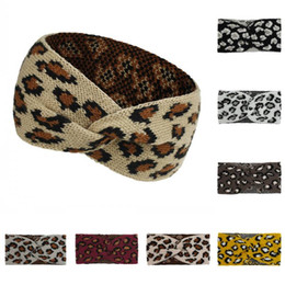 wide headbands for yoga Australia - DHL Shipping Non-slip Knit Headband Leopard Hair Band Sport Yoga Headband Wide Cross Headwear Head Wrap Sweatband for Women and Girls L724FA
