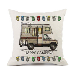 ingrosso camper auto-Happy Campers Pillow Case Cartoon Campers Caravan Dining Car Christmas Lino Biancheria Cuscino Cover Cuscino per Home Hotel cm HWC2694