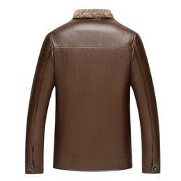 Wholesale faux fur lined parka coats resale online - Winter Mens Leather Jackets Coat Faux Fur Turn down Collar Pu Leather Jackets Parka Male Jacket Slim Fur Jackets Coats XL