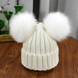 fur hats for kids UK - Winter Baby Knit Hat With Two natural Pompoms Boy Girls Natural Fur Beanie Kids Caps Double Real Fur Pom Pom Hat for Children