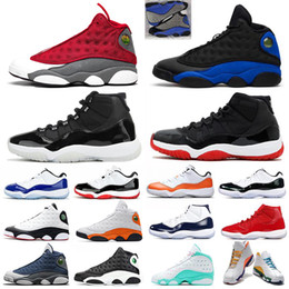 Flint 13 Jumpman 11 men women basketball shoes Bred 11s Hyper Royal Lucky Green Playground 13s Concord Blue mens sports sneakers 5.5-13 on Sale