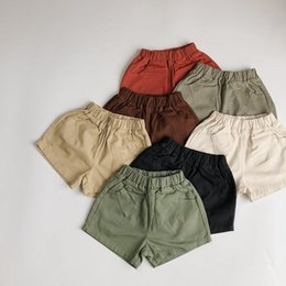 white cargo shorts 2021 - HX INS Korean Quality Styllish Kids Shorts Spring Autumn Pure Cotton Girls Shorts Baby Shorts Kids Bottoms Children Unisex Pants