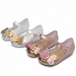 Mini Melissa Shoes 2019 New Original Girl Jelly Sandals butterfly Kids Children Beach Shoes Non-slip Toddler candy SH19075 LwHD#