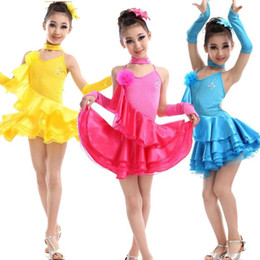 flamenco dance 2021 - 3 colors Ballroom Competition dancing dress Latin Dance Suits Girls Dance wear Costumes Kids Waltz Flamenco Outfits Kids